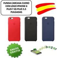 """FUNDA CARCASA CUERO IPHONE 6 PLUS Y 6S PLUS 5.5"""" CON LOGO. VARIOS COLORES ESPAÑA"""