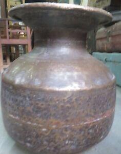 Antique Brass Pot Bygone era Water storage large size Garden yard utility Decor