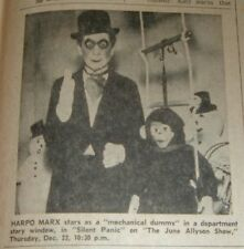 "1960 TV AD~HARPO MARX as a MECHANICAL DUMMY in ""SILENT PANIC"""