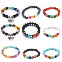 7 Chakra Lava Natural Stone Energy Reiki Balance Beads Bracelet Bangle Women Men
