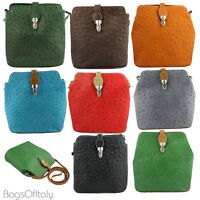 Giglio Ostrich Effect Leather Mini Messenger Cross Body Handbag Made in Italy