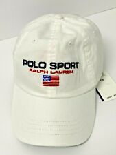 NEW RALPH LAUREN Polo Sport US Flag Cotton Chino Cap WHITE Blue Red