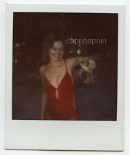 Sexy Smiling Swimsuit Girl Holds Up A Crab Vintage Polaroid Photo