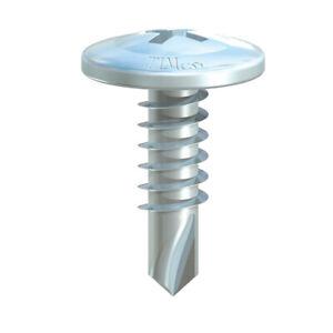 100x WAFER HEAD SELF DRILLING TEK SCREW ZINC 4.2, 13.5mm 16mm 19mm & 25mm CE PH2