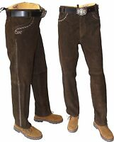 lange Lederhose aus Wildbock-Velourleder Trachten Oktoberfest  Stockerpoint -48