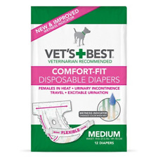 Vet's Best Comfort Fit Dog Diapers | Disposable Female Dog Diapers | Absorbent |
