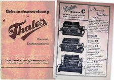 Gebrauchsanweisung für Thales Universal - Rechenmaschinen - Ausgabe 1938!