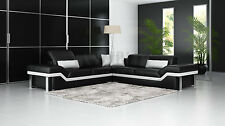 LEATHER SOFA Corner Suite NEW RRP £5999 Black Large Corner Sofa
