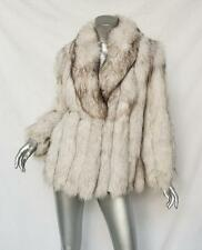 Womens White+Brown Tipped VINTAGE 1930's Fox FUR+LEATHER Panels Jacket Coat M/L