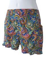 New Frill Edge Shorts S/M Pockets Lightweight Blue Multi Beach Holiday Summer