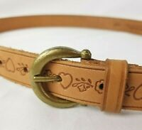 Vintage Ribco Belt Womens Leather Tooled Hearts Brass Buckle USA Made Sz L