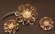 Vintage Flower Brooch & Earrings Set AB Rhinestone Gold Antique STAMPED Jewelry