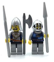 LEGO LOT OF 2 BLUE CROWN KNIGHT MINIFIGURES CASTLE KINGDOMS FIGS WITH WEAPONS