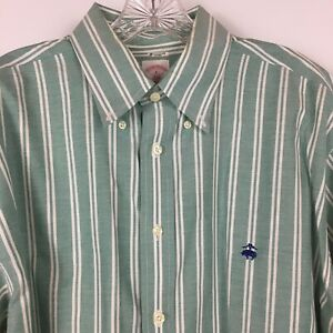 Brooks Brothers Men's Non Iron Long Sleeved Button Up Shirt Green Stripe Size L
