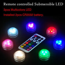 10PCS Multicolor Submersible LED Lights Waterproof W/ Remote Control Party Decor