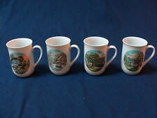 Currier & Ives 4 Porcelain Mugs Cups 4 Seasons. Winter, Autumn, Spring, Summer