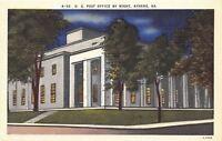 Athens Georgia~U S Post Office By Night~1940s Postcard