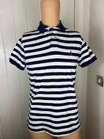 "Mens Polo Shirt Ralph Lauren Size S Small Short Sleeve White Blue 19"""