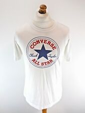 CONVERSE Mens/Boys T-Shirt Top 13-15 Years S Small Man White Cotton & Polyester