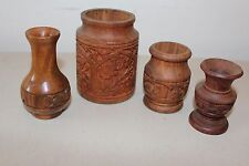 Assorted Lot Carved Wood Vases Candle Holders Hawaii L#280