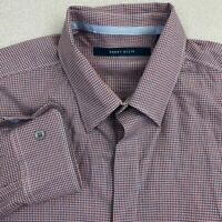 Perry Ellis Button Up Shirt Mens M Salmon Blue Long Sleeve Cotton Check Casuals