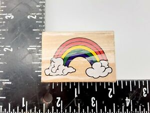 Rainbow and Clouds Wood Rubber Stamp