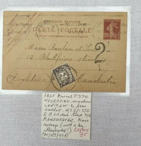 1925 French Pre Stamped Post Card. Postage Due Stamp. Tourcoing to Manchester