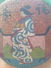 Vtg Antique Hand Painted Geisha Basket Japanese Wicker Reed Sewing Basket Large