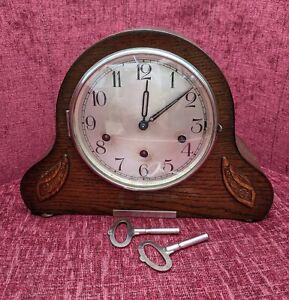 Vintage wooden Haller mantel clock with 5 bar chimes Napoleon Hat shape