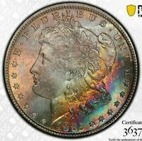 1885-P USA MORGAN SILVER DOLLAR PCGS MS64 UNC TONED RAINBOW COLOR BU #14 (DR)
