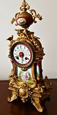 More details for antique french gilt & porcelain mantel clock.