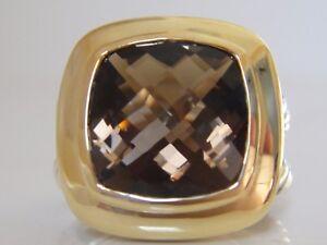 $890 DAVID YURMAN 18/K GOLD,SS ALBION SMOKY QUARTZ  RING