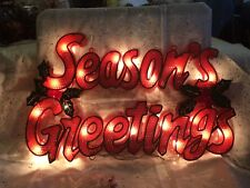 "Retro ""SEASONS GREETINGS"" Red Mesh SIGN 20 Light Sculpture Christmas Decor 11x17"