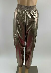 Victoria's Secret Victoria Sport Shiny Cargo Jogger Pants -Metallic Gold- M -NWT