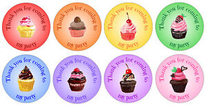 48 x 3cm circular party stickers with cupcake design