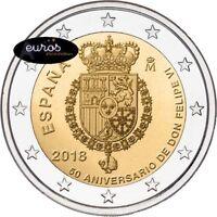 Pièce 2 euros commémorative ESPAGNE 2018 - Anniversaire du Roi FELIPE VI - UNC