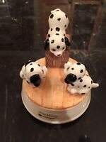 OTAGIRI JAPAN DALMATIONS CERAMIC ROTATING MUSIC BOX WITH PUPPIES