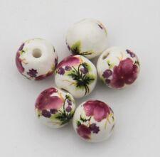 30pcs 8mm Round Porcelain/Ceramic Beads - White / Magenta Flowers