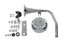 Trumpet Style 12 Volt Chrome Horn Kit,for Harley Davidson motorcycles,by V-Twin