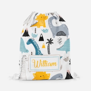 Personalised Handdrawn Dino Dinosaurs Kids Drawstring Bag PE Swimming School Bag