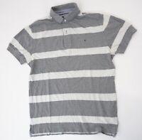 Tommy Hilfiger Poloshirt Polohemd Herren Gr.M grau gestreift Knopf Piquè -S1384