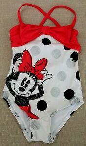 Disney Store MINNIE MOUSE SWIMSUIT sz 3 Girls One Piece Swim Suit Red Bow Dot
