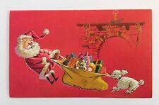Vintage RUST CRAFT Christmas Card SANTA Mid Century Mod Poodle Dog Pink Toy Bear