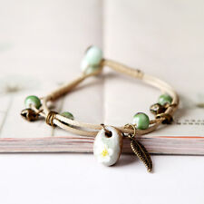 Women Multilayer  Bracelets Ceramics Flower Leaf Drop Beads Leather Rope Bangle