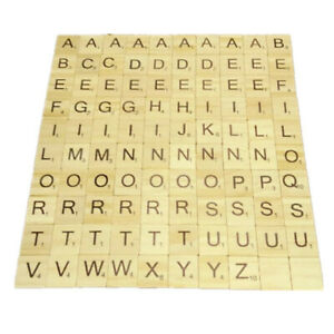 Scrabble Double sided Wood Alphabet Toy Numbers For 100pcs Crafts Wooden Letters