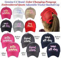 d39af956a56b8 C.C Ponycap Adjustable Color Changing Embroidered Quote CC Ponytail Cap