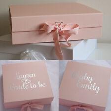 LARGE LUXURY PINK GIFT BOX PERSONALISED BRIDE BRIDESMAID BABY GIRL KEEPSAKE BOX