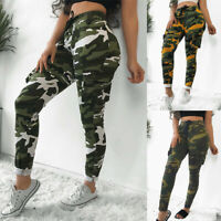 Women Camo Skinny Military Cargo Pants High Waist Combat Summer Joggers Trousers
