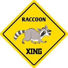 "*Aluminum* Raccoon Crossing Funny Metal Novelty Sign 12""x12"""