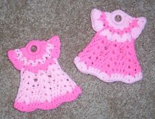 PAIR OF MINI DRESS POTHOLDERS, Crochet, BRIGHT PINK & PASTEL PINK, New, HANDMADE